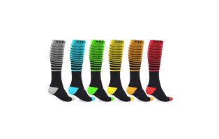 Unisex Striped Compression Socks (6-Pairs) - $24.99 with FREE Shipping!