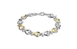 Love Charm Sterling Silver Plated Bracelet - $17.00 with FREE Shipping!